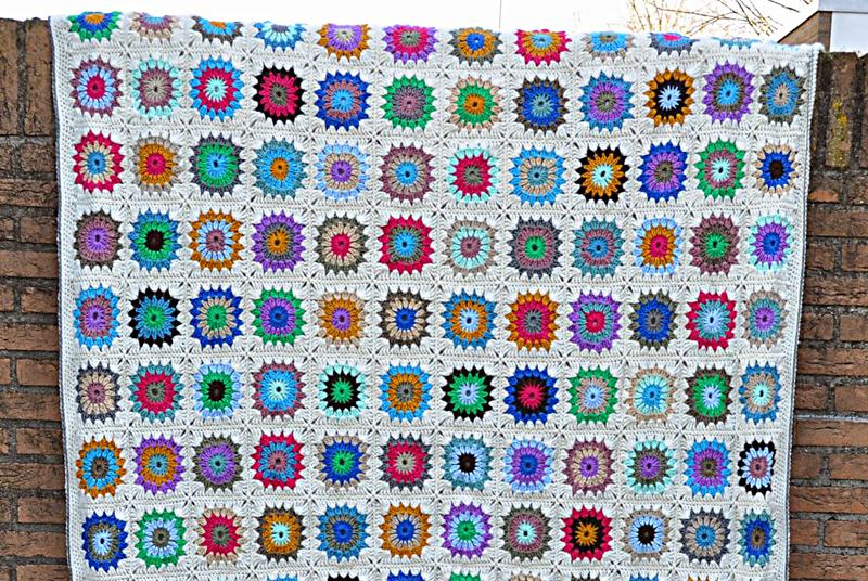 Crocheted circles blanket