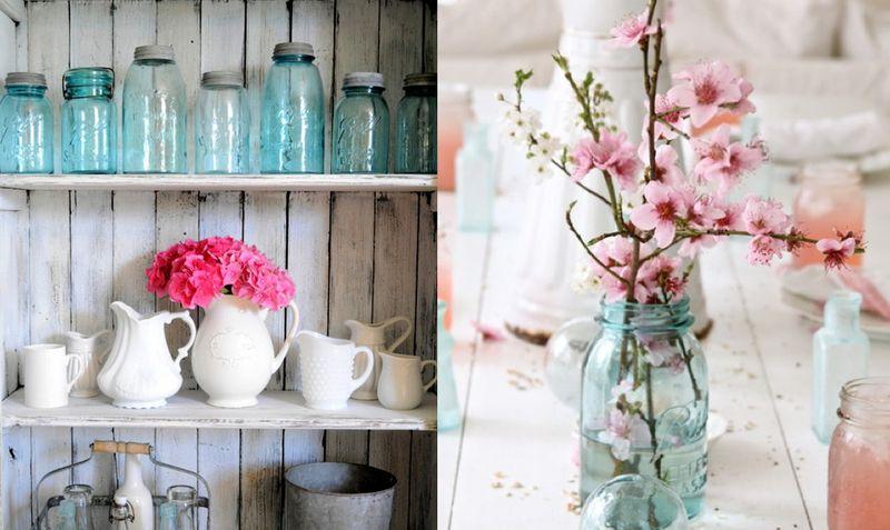 Decorating with flowers mason jars