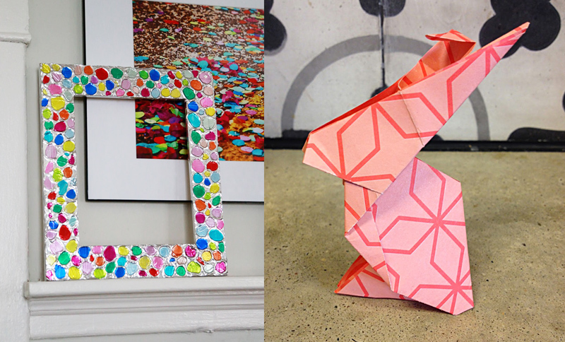 Hot glue textured frame,origami bunny