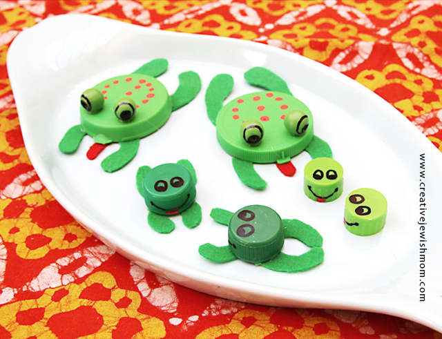 Bottle Cap Frog Craft For Passover