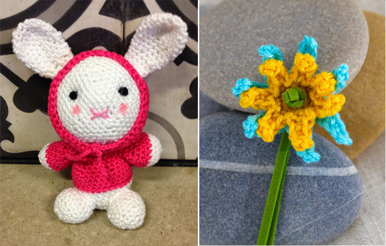 Crocheted rabbit with hoodie,crocheted simple flower bookmark