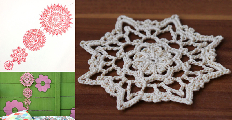 Crocheted doily wallhanging,crocheted doily pattern