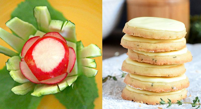 Radish rose tutorial,lemon sage cookies