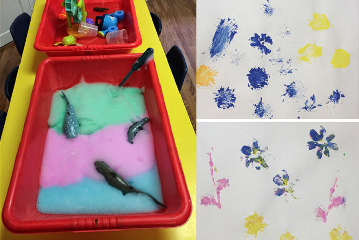 DIY tactile foam for kids,painting with flowers for kids