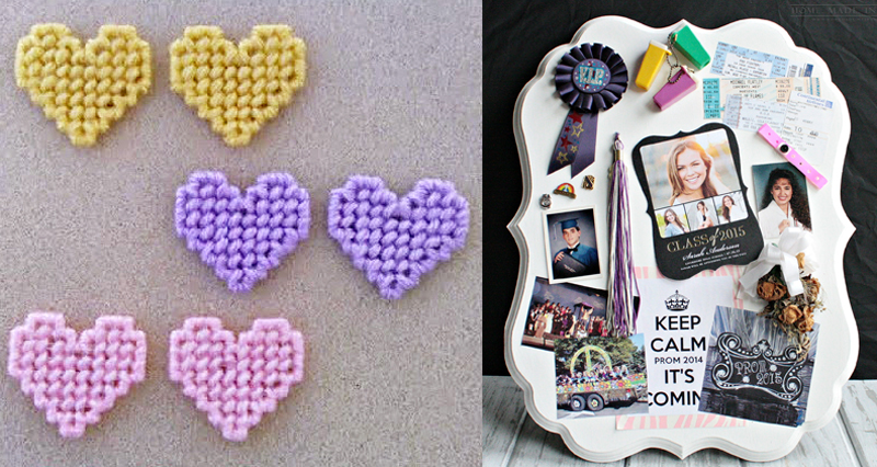 Plastic canvas hearts,highschool memory board