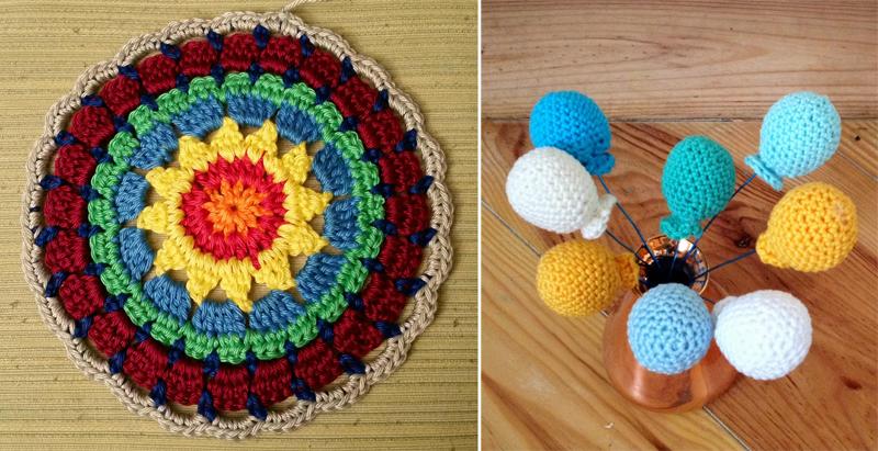 Crocheted mandala,crocheted balloons