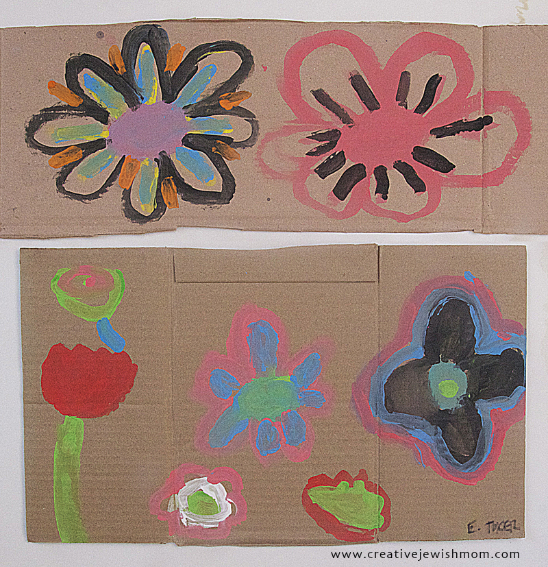 Flower craft painted flowers on cardboard