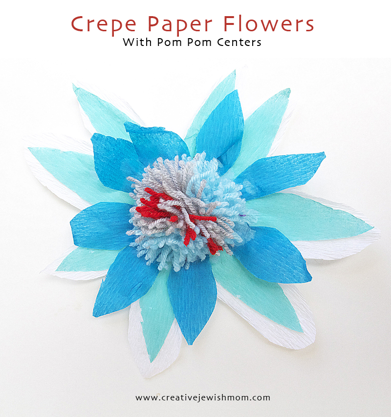 Crepe Paper Flowers With Colorful Pom Pom Centers Craft For Kids
