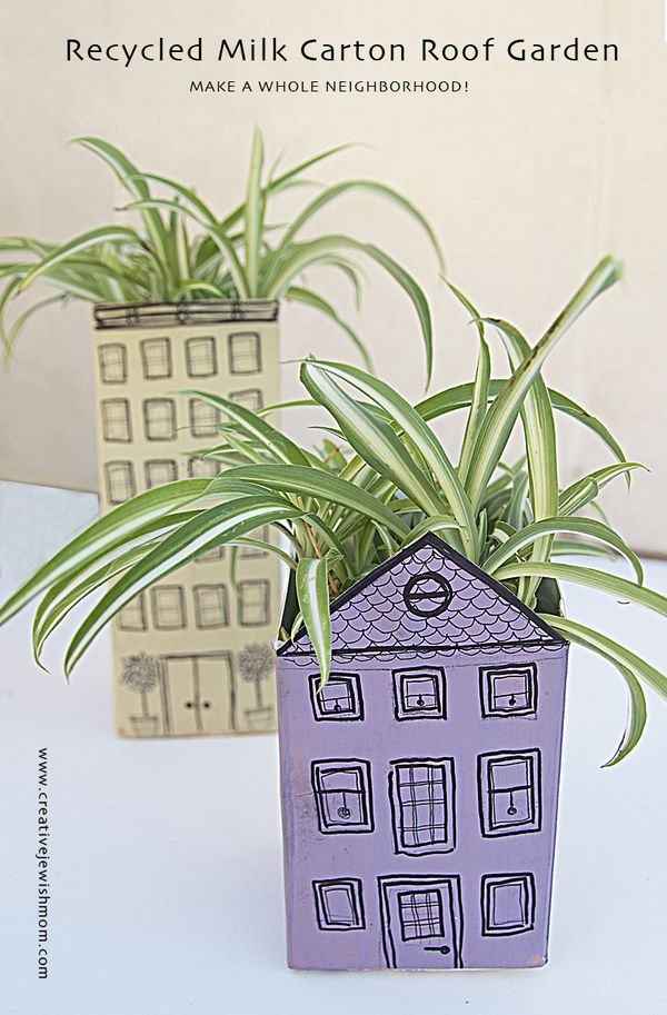 Summer Crafts For Kids A Recyled Milk Carton Roof Garden
