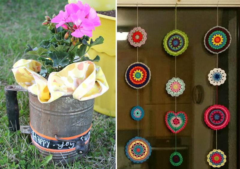 Crochet mandala window hanging,flour sifter pot for geraniums