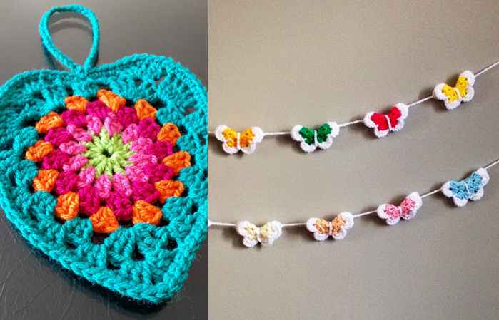 Crocheted butterfly garland,round granny heart