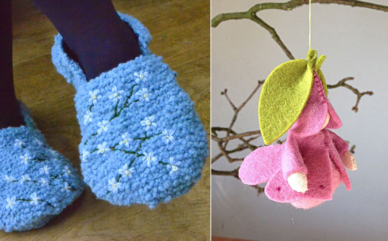 Felt faerie ornament,knit slippers with daisy embroidery