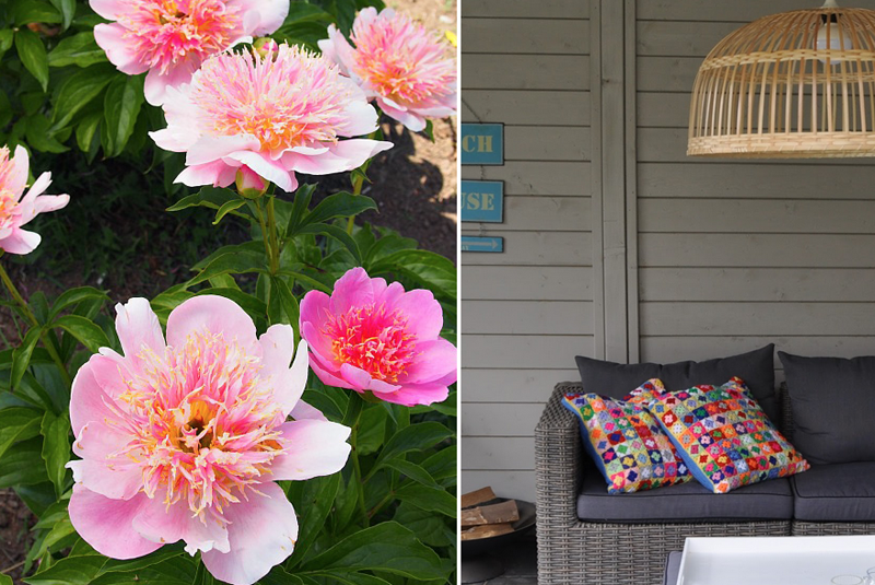 Crocheted mini squares pillows,peonies how to