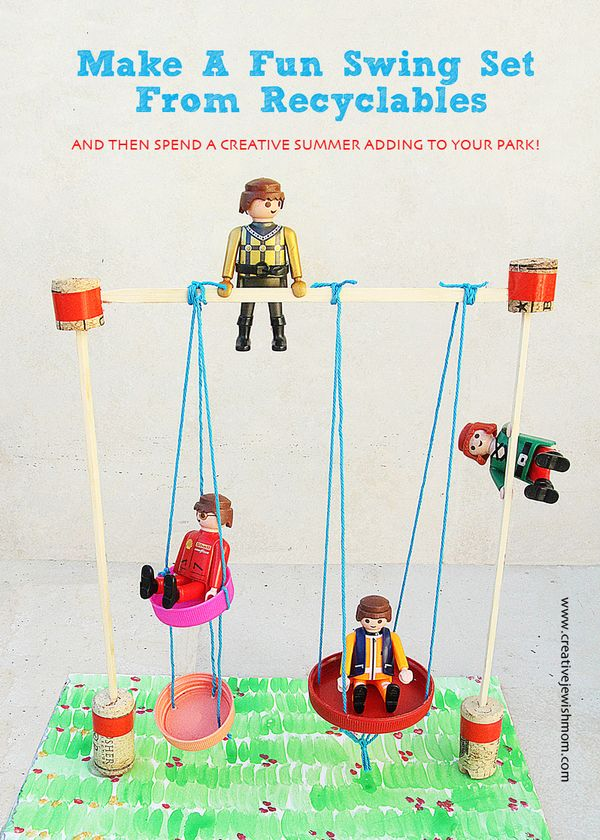 Miniature swing set craft from recyclables for creative for Playmobil basteln
