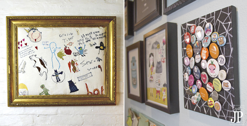 Event button wall art,embroidering kids drawing