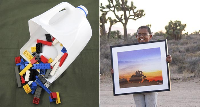 Recycled milk jug toy scooper,sunset photo gift