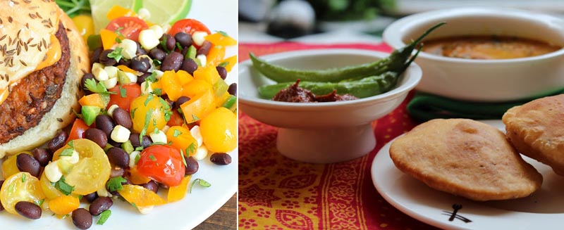 Grilled summer salad,indian meal with curry