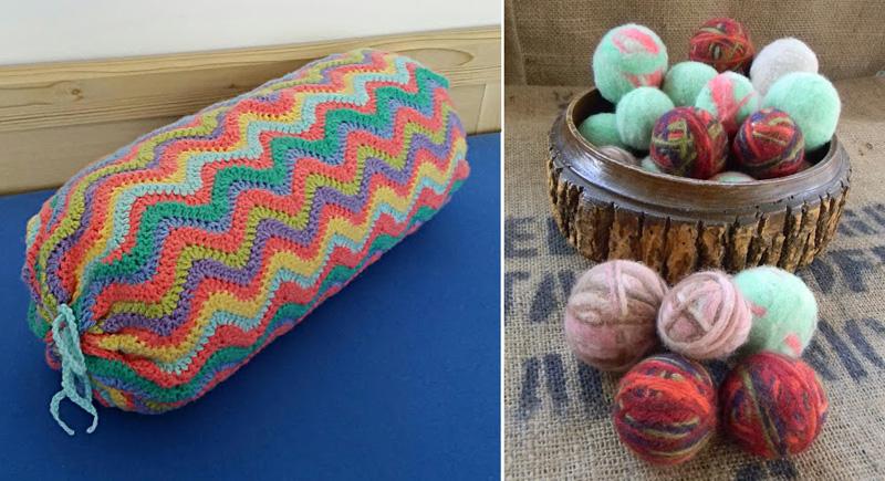 Crocheted wavy bolster pillow,felted dryer balls