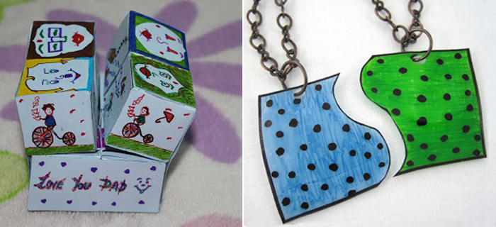 Fold out paper cubes card,shrinky friendship necklace