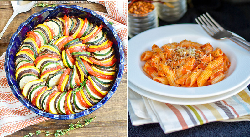 Ratatouille that looks amazing,marinara sauce with penne