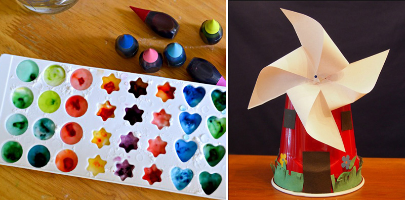 Homemade watercolors for kids,windmill cup craft for kids