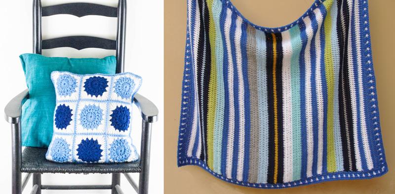 Crocheted stripes baby blanket,star burst crochet pillow