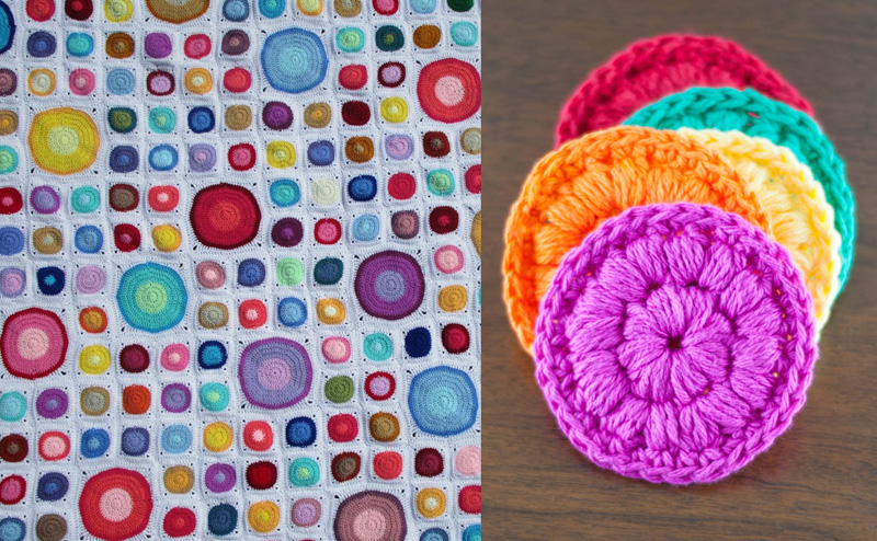 Crocheted scrubbries,big and small circles crocheted blanket