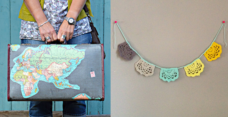 Map decoupaged suitcase,crochet banner