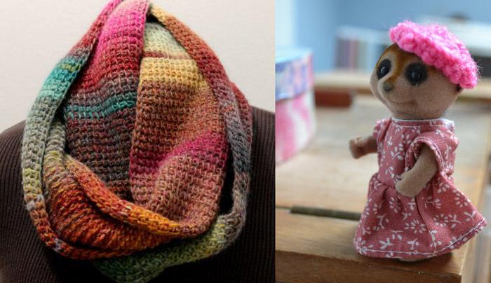 Tunisian stitch crocheted cowl,tiny crocheted beanie