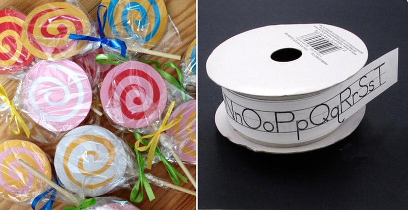 Lollipop party invitations,school letters tape for teacher gift