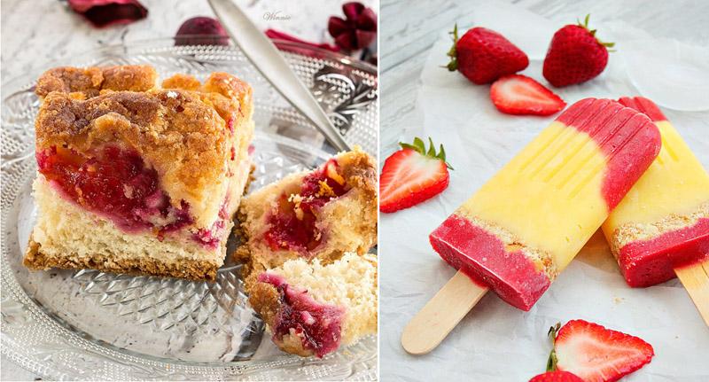 Fresh plum cake, strawberry pudding popsicles
