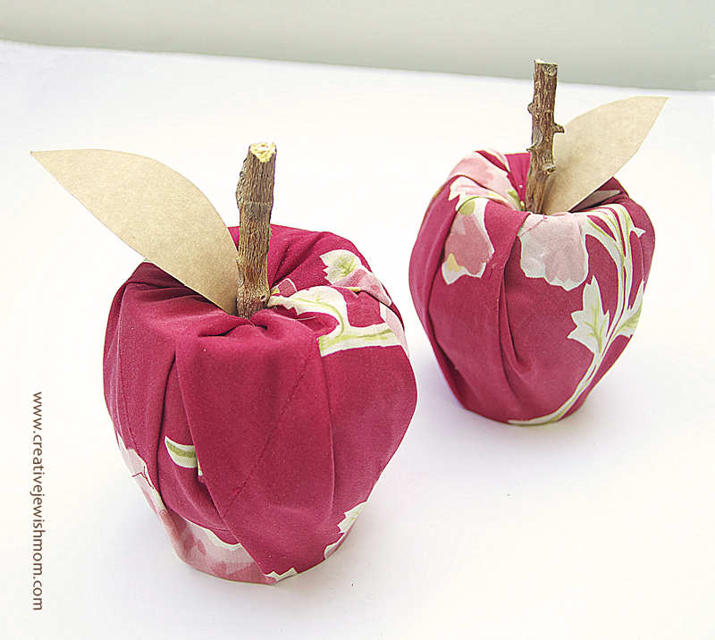 Fabric Apples No Sew With tin can and cardboard tube