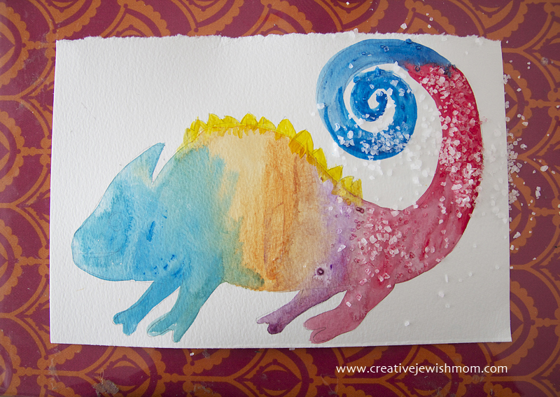 Chameleon watercolor craft step 2