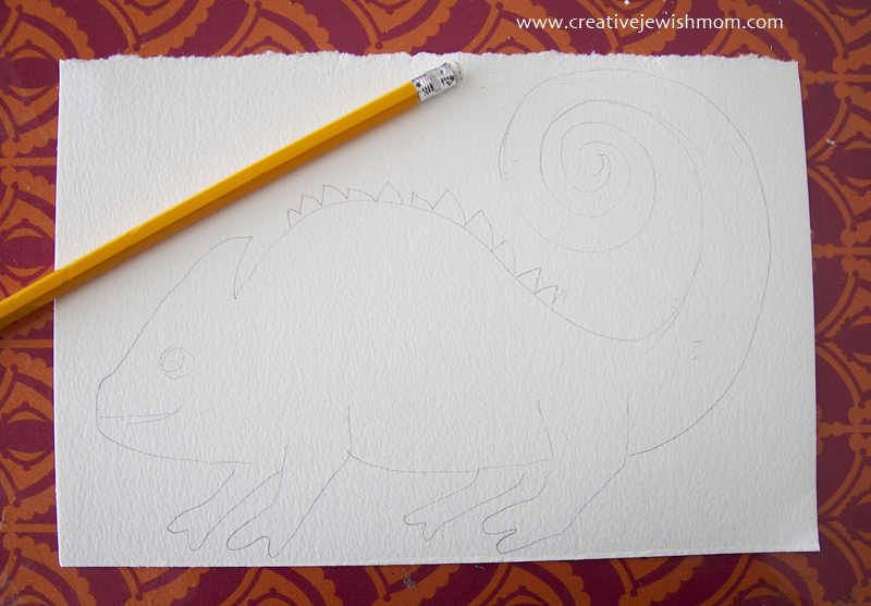 Chameleon drawing for watercolor