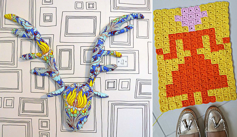 Fabric deer head,pixel crochet lady