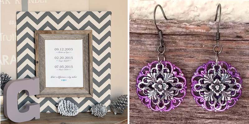 Family dates frame craft,filigree earings
