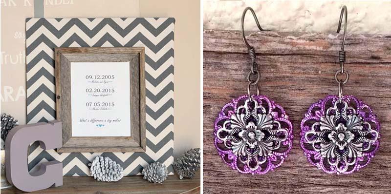Family dates frame craft,filigree earings