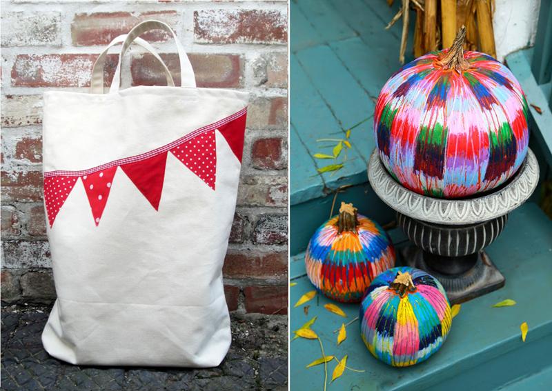 oil pastel colored pumpkins, buntinh applique market bag
