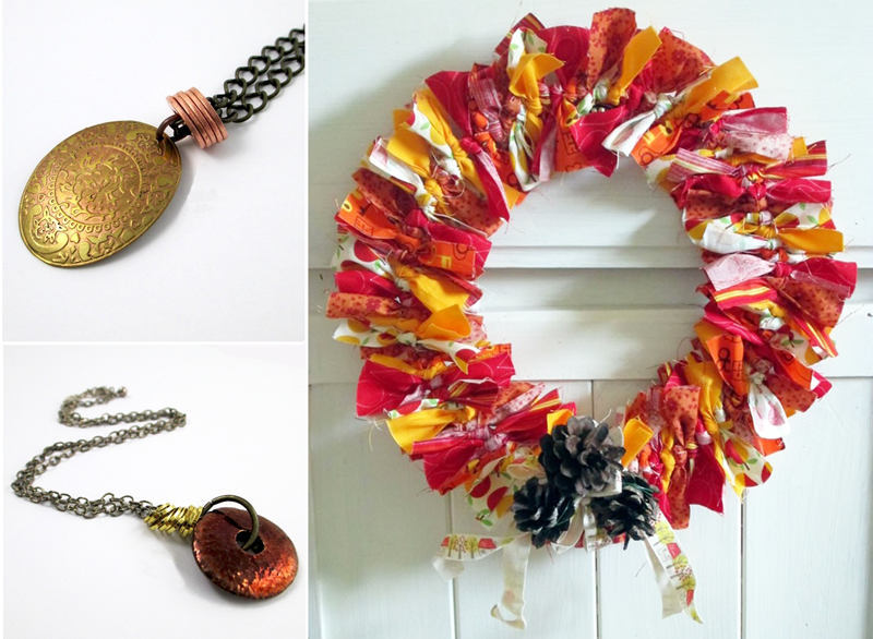 Tied rag wreath for fall,stacked ring pendant
