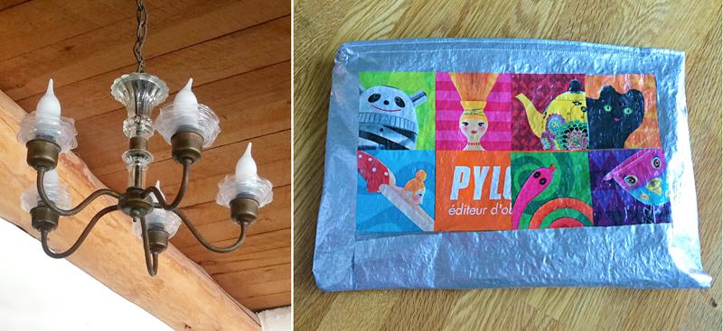 Plastic bag fabric toiletries bag,coffe lid chandelier ruffles