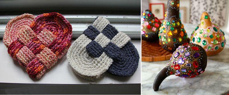 Crocheted woven danish hearts,rhinestone gourds craft