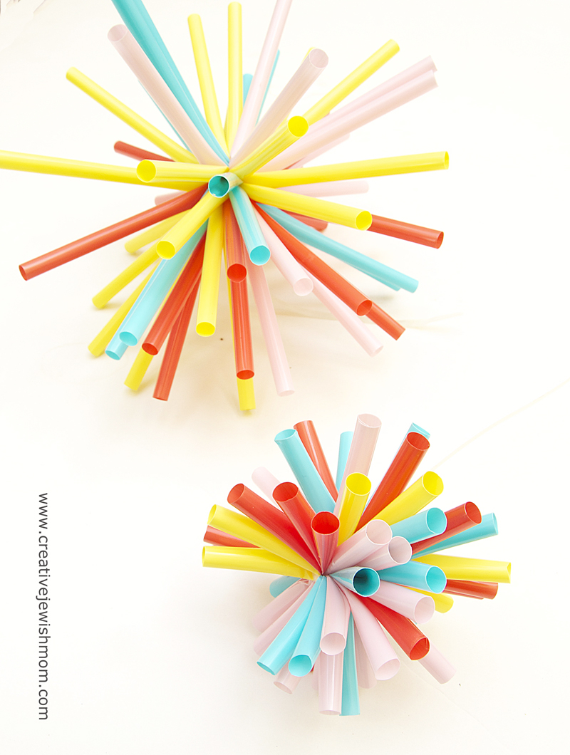Drinking Straws Simple Zip Tie Starburst Holiday Ornaments
