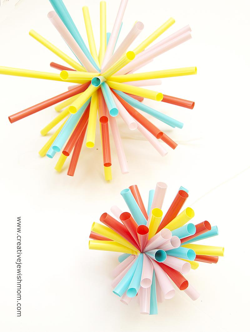 Drinking Straws Simple Zip Tie Starburst Holiday Ornaments