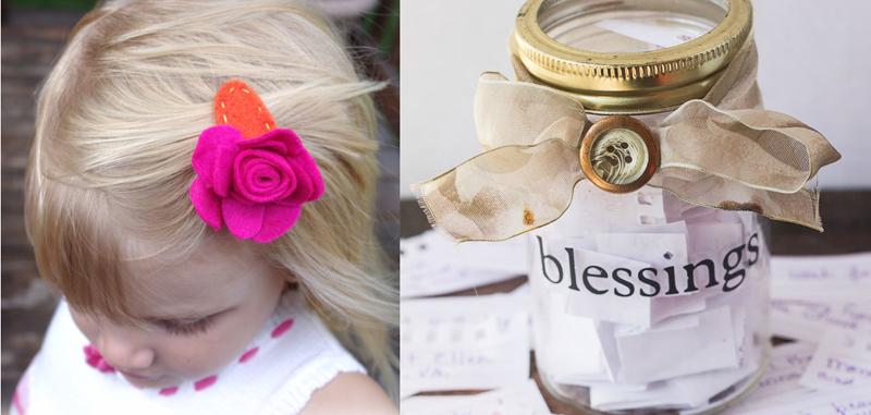 Felted rose hair clip,family blessings jar