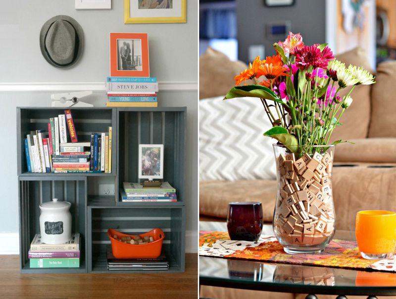 DIY painted crates bookcase,scrabble pieces vase decor