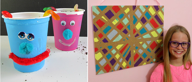 Pin board craft for kids,monster treat cups craft for kids