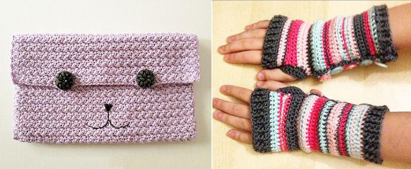 Crocheted striped wrist warmers, crocheted modern cat clutch