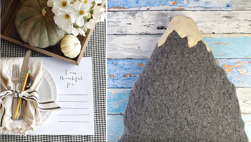 Mountain pillow from upcycled sweater, thanksgiving placemat printable
