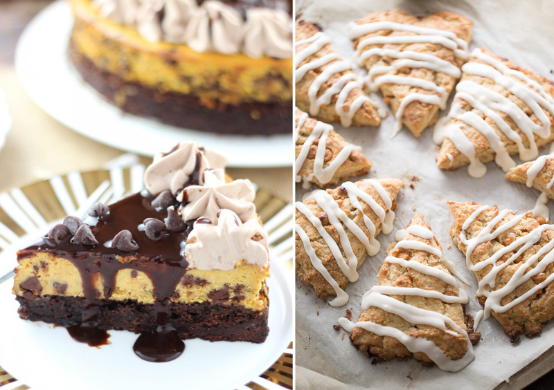 Maple scones,pumpkin chocolate cheesecake