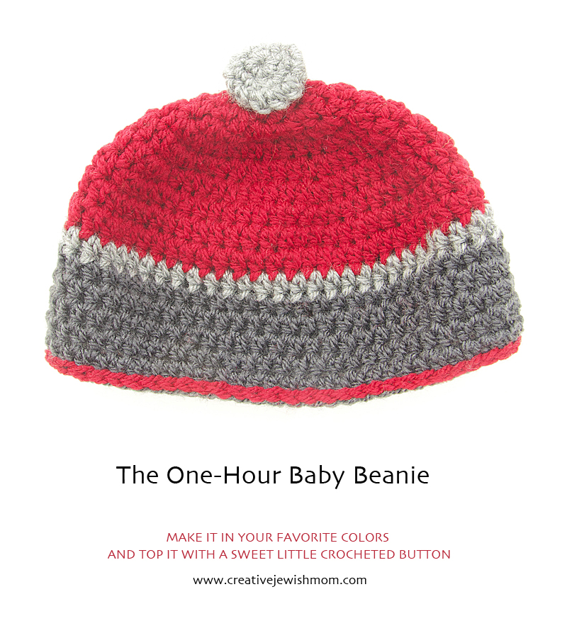 Crocheted Baby Beanie With Button top